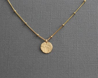 sterling silver necklace, dainty necklace, delicate pendant, beaded chain, satellite chain, hammered disc, simple necklace, N166