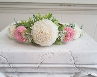 Blush and cream Sola wood flower crown