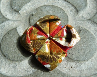 orange, red and gold lotus flower origami brooch