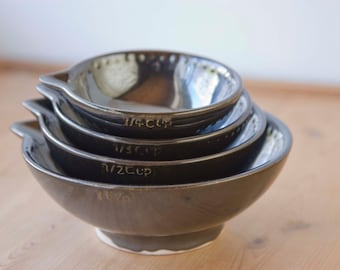 Measuring Cups, Gun metal black - dark gloss black - ready to ship - hand painted