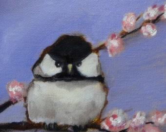 """Chickadee Original Oil Painting 5 x 5"""""""