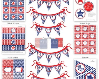 4th of July Party-4th of July Printables-Chevron and Stars Printable 4th of July Party Set Printable Fourth of July Party-July 4th Party