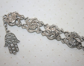Vintage Middle Eastern Silver Tone Chain Link Charm Bracelet