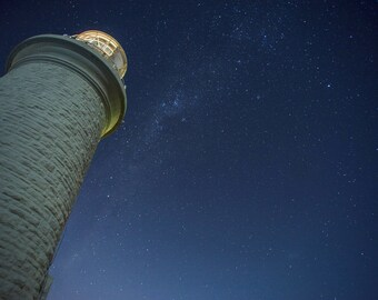 Lighthouse At Night- Landscape Print- Wall Art