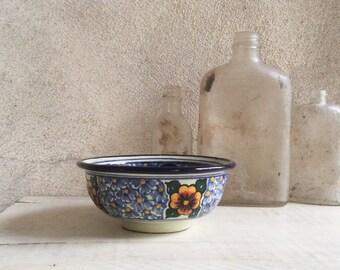 Vintage Puebla Mexico small majolica pottery bowl / Talavera kaleidoscope / signed A.L. (Alonso Luis) / blues golden yellow / Frida kitchen