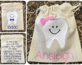 Personalized Tooth Fairy Bag, Tooth Fairy Pouch, Tooth Fairy Keepsake, Tooth Fairy Poem, Girl Boy Tooth Fairy Bag, Kids Tooth Fairy Sack