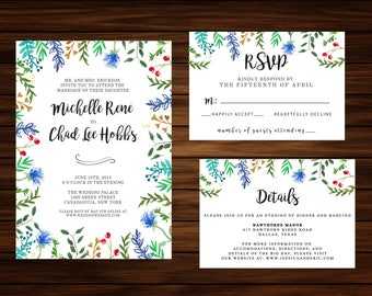 Watercolor Floral Surround Invitation by PrintablePapery [printable]