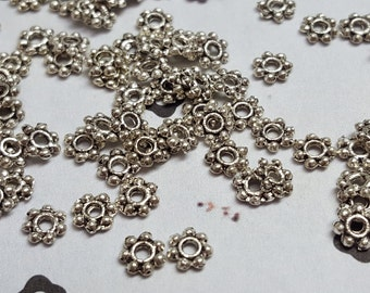 50 Antiqued Silver Daisy spacer metal beads 4mm