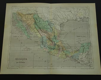 Old mexico map etsy mexico old map of mexico 1858 original antique hand colored print about mexico city acapulco vintage gumiabroncs Choice Image