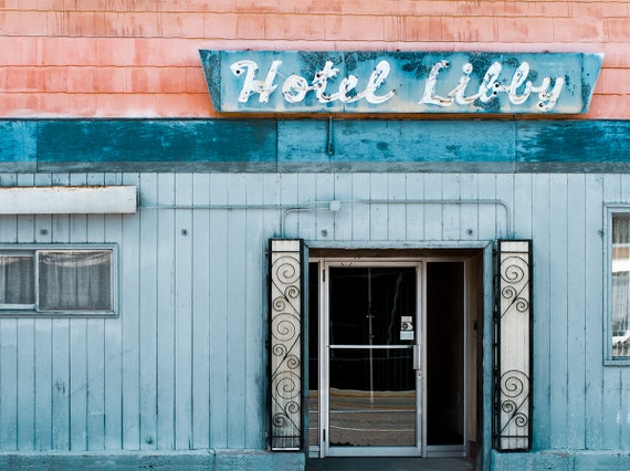 Rustic blue decor vintage hotel print montana photography for Vintage hotel decor