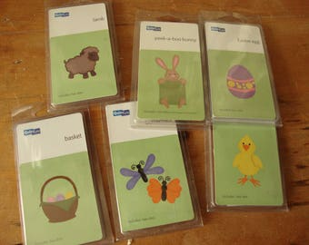 "Quickutz dies for Spring Easter 2""x2"" die cuts never used basket lamb easter bunny egg duck butterflies paper crafting tools supplies"