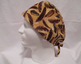 Men's Scrub Hat with Feather print on Gold