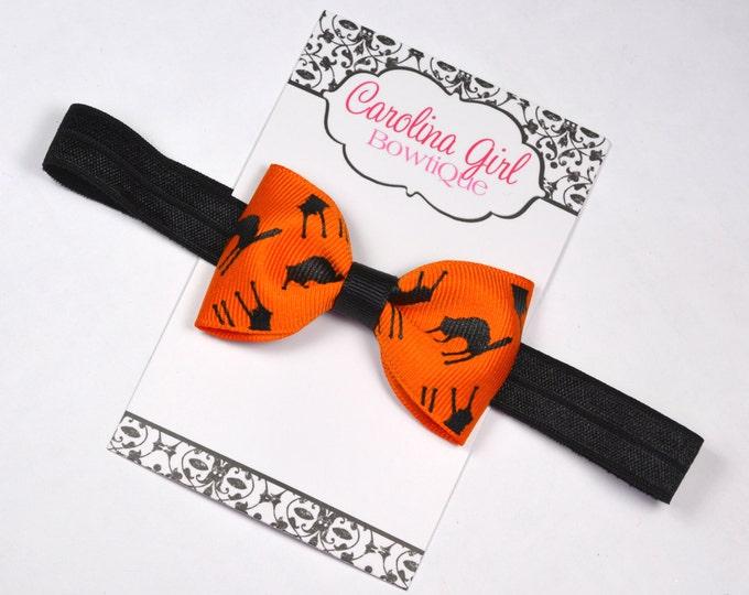 "Halloween Cats Tuxedo Bow Headband ~ 3"" Hairbow ~ Baby Bow  Headband ~ Toddler Bow Headband ~ Infant Headband ~ Fall Halloween"