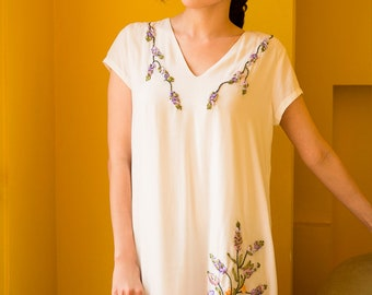 Lavender ribbon embroidery A line dress