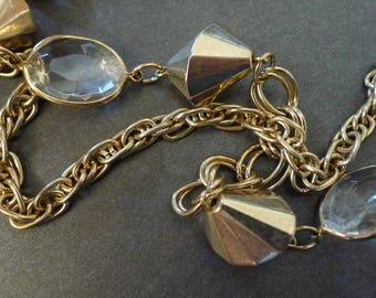 Gold and Crystal Chain Linked Vintage Necklace