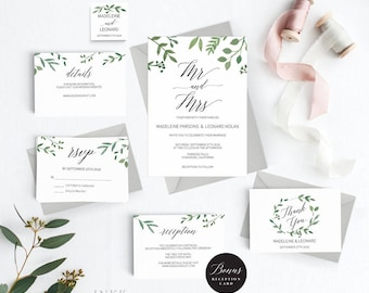 Modern Greenery Wedding Invitation Template, Mr Mrs Wedding Invitation Printable, Cheap Invitation,DIY PDF Instant Download #E023