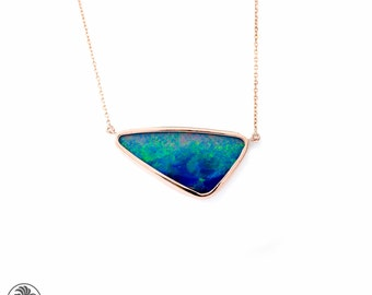 Opal Doublet Necklace, Rose Gold Necklace, Opal Necklace, Blue Opal Doublet Necklace, Opal Necklace, Unique Jewelry  | NEC01956