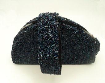 Vintage blue irridescent zippered handbag