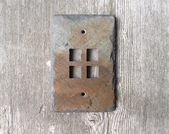 Slate Switch Plate 4 Four Port Jack Cable Phone Outlet Cover Switchplate Vermont Slate Art