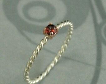 Tiny Garnet Ring--3mm Rose Cut Garnet Ring--Rose Gold and Silver Band--Twist Ring--Red Stone Ring--Garnet Stacker Ring--Stone Stack Ring