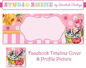 DIY Facebook Cover Package - Facebook Timeline Cover and Profile Picture - Sew Cute Kitten - Blog or Website Banner Digital Instant Download