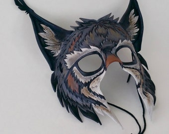 Gray European Lynx Leather Mask