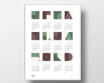 Calendar 2018 Poster - Print / Wall Decor / Graphic / Digital Download