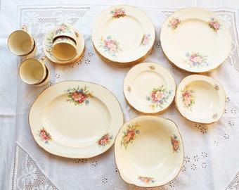 Antique dinner set 1920s dinner set Cream floral dinner set  Dinner plates Dinnerware Pink floral dinner set English dinner set