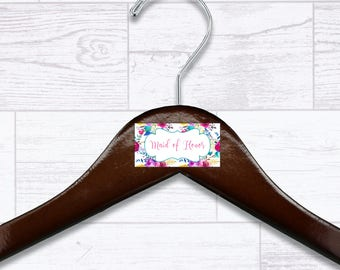 Floral Maid of Honor Wooden Hanger - Wedding Hangers - Bridal Hanger - Maid of Honor Gift - Wedding Gift - Wedding Supplies - HNGR0043