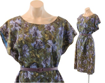 Vintage 50s Sheath Dress Purple Watercolor Floral Silk  Short Sleeve Spring Fashion 1950s XL Plus Size