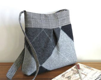 Gray and Black Argyle BELLA Handbag, Upcycled Wool Sweater Purse, Shoulder Bag
