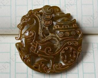 Double Side face carving Horse jade jade Flower Long Life Card pendant Bead Gemstsone,Amulet Talisman jade pendant findings