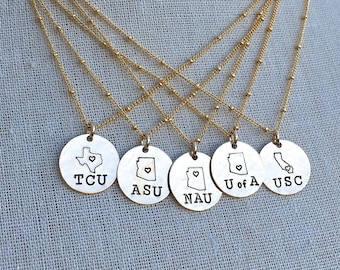 College Necklace, College Acceptance Gift, College Pride Necklace, Class of 2018 Graduation Gift, New College Gift, Senior Gift