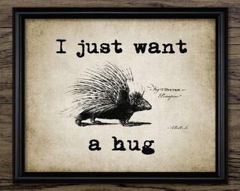 I Just Want A Hug Print - Home Decor - Porcupine Art - Single Print #328 - INSTANT DOWNLOAD