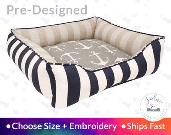Nantucket Dog Bed with Personalization - Beach House, Nautical, Anchors | Washable, Reversible and High Quality - Ships Fast!