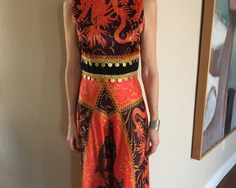Vintage Abstract Palazzo Jumpsuit 1970