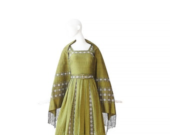 1950s Dress With Wrap • 50s Green Dress • XS S Small