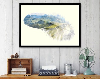 "Feather print art, feather art, double exposure landscape, boho art print, feather wall art, mixed media collage art, print art - ""Feather""."