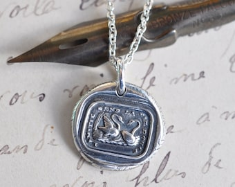 two swans wax seal necklace … friendship sweetens life - friendship best friend gift -  fine silver French antique wax seal jewelry