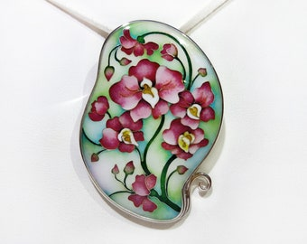 Orchid. Necklace. Pendant. Jewelry, Cloisonne Enamel. Sterling silver. Handmade Jewelry