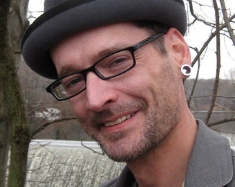 The Ian/ Grey Velour Porkpie Hat
