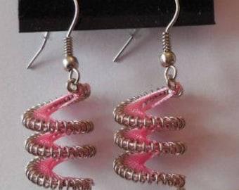 Pink Twirl Peruvian Thread Earrings