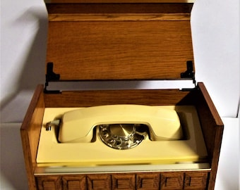 Vint. Western Electric  Executive Stowaway Rotary Dial Phone in Solid Wood Box  70s Style Bell Telephone Company. In Working Condition
