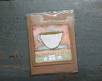 SALE! Teacup card, Tea Art, Whimsical Tea, Tea Card, Sale Card, Clearance Card, greeting card note card, Mixed Media Art, A Cuppa Tea