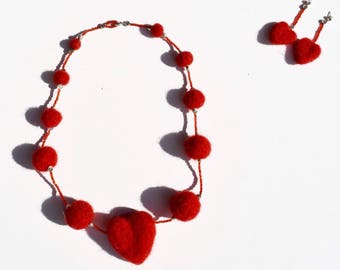 Necklaces Jewellery Wool Earrings Red Heart Felted Valentines Day Gift för her