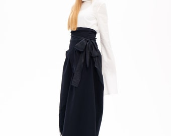 Boho Skirt, Full Skirt, Floor Length Skirt, Black Maxi Skirt, Black Cotton Skirt, Japanese Clothing Skirt, High Waist Skirt