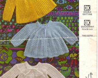Emu 8493 Vintage Knit Pattern for 3 styles baby matinee coats instant download knitting pattern