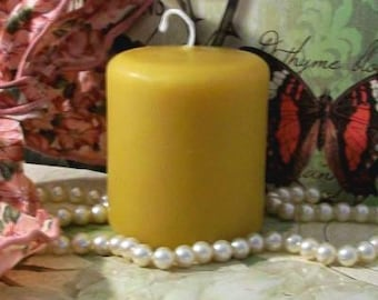 "Beeswax Pillar Candle With Rounded Edges 3"" Tall"