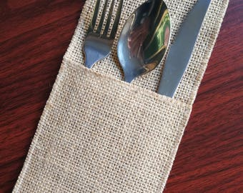 Set of 10-Wedding Table Set,Burlap Silverware Holder,Wedding Rustic Menu,Burlap table decoration,Rustic table decor, -13