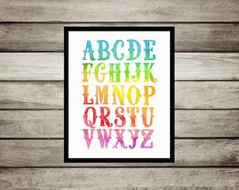 ABC,Nursery Decor,Rainbow,bright,colorful,Nursery,Wall Art,Nursery Print,Alphabet Poster,Watercolor,nursery,playroom,instant print,gift,baby